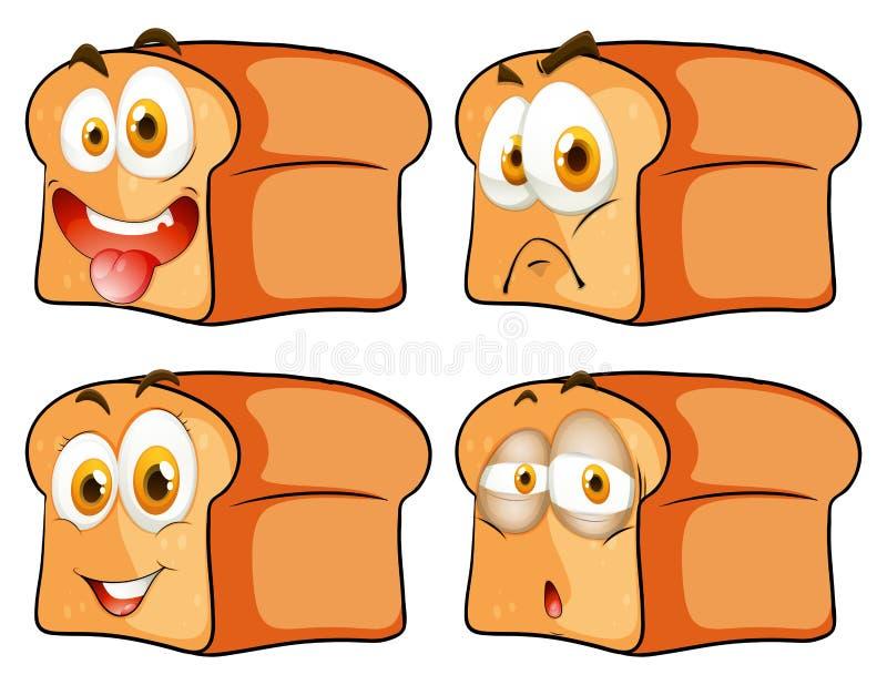 与表情的面包 库存例证