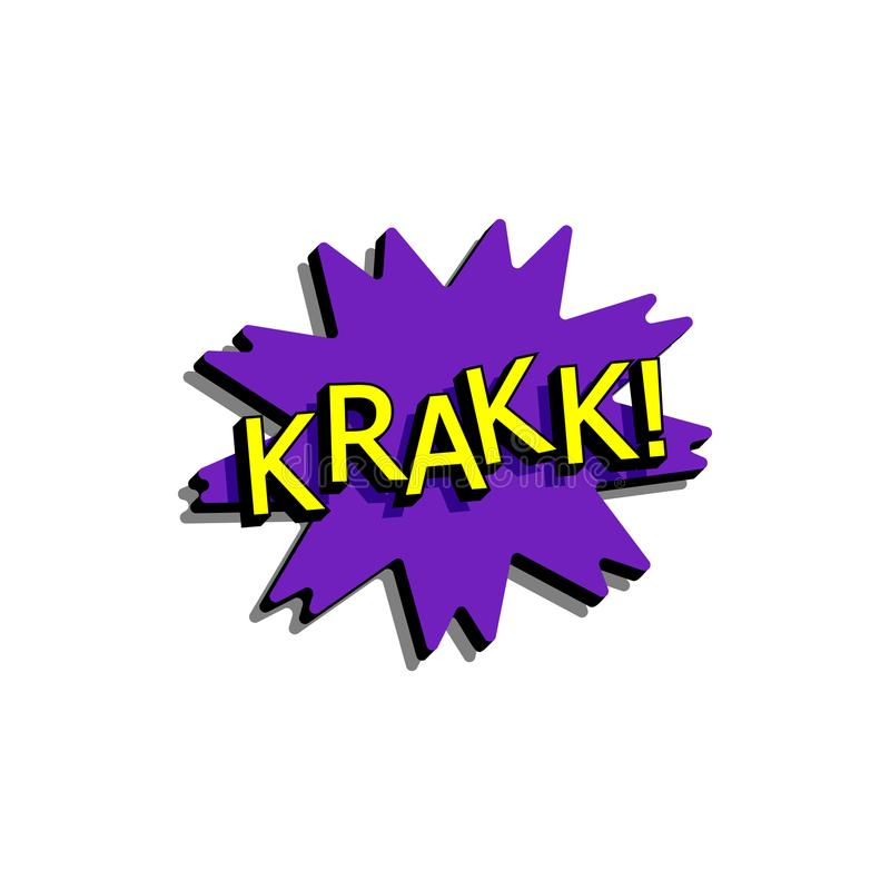 与表示文本krakk的可笑的讲话泡影 导航在减速火箭的流行艺术样式的明亮的动态动画片例证被隔绝的 皇族释放例证