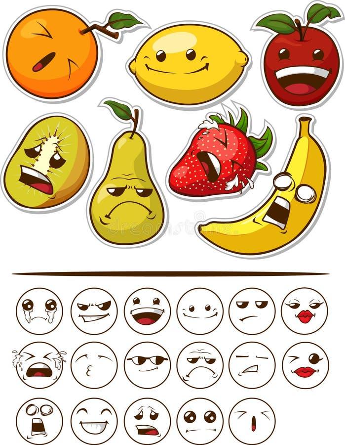 与表达式的滑稽的果子 向量例证