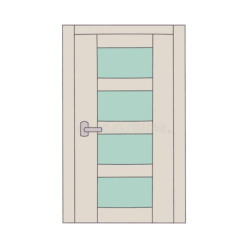 与表面无光泽的玻璃盘区的明亮的颜色门 库存例证