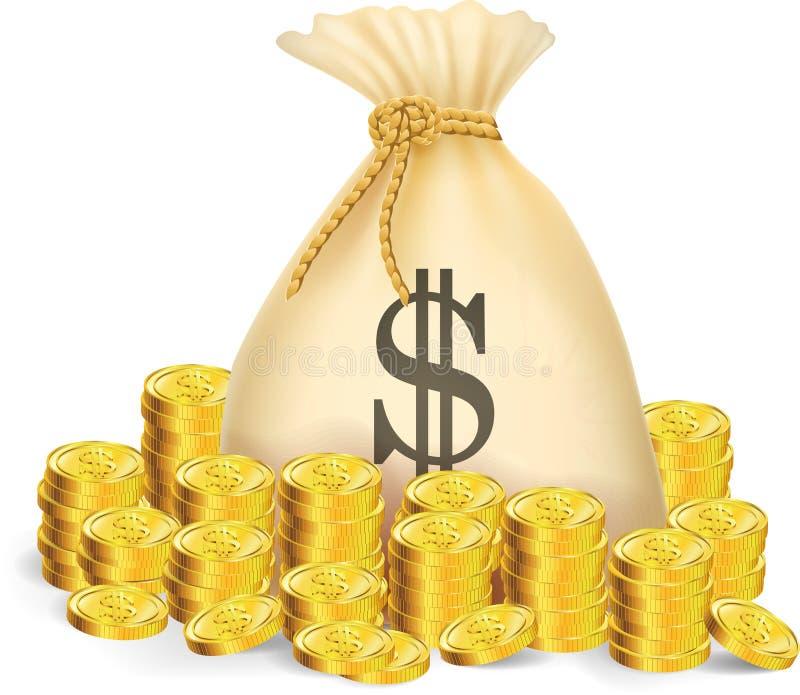 与袋子的金币金钱 向量例证
