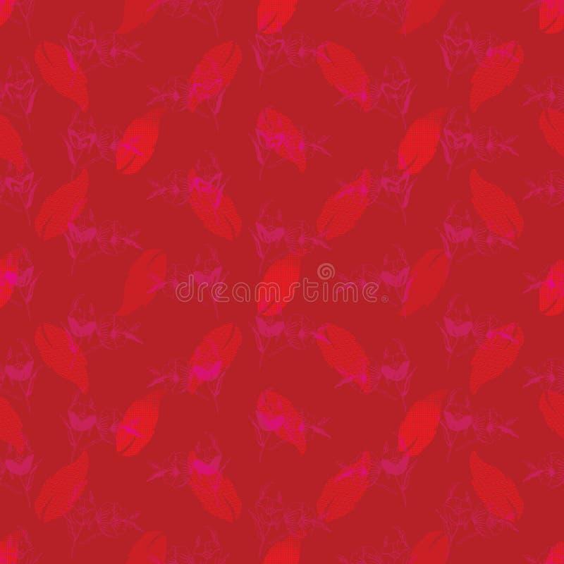 与被仿造的叶子的无缝样式和花卉 复杂例证印刷品在桃红色树荫下,珊瑚和红色 皇族释放例证