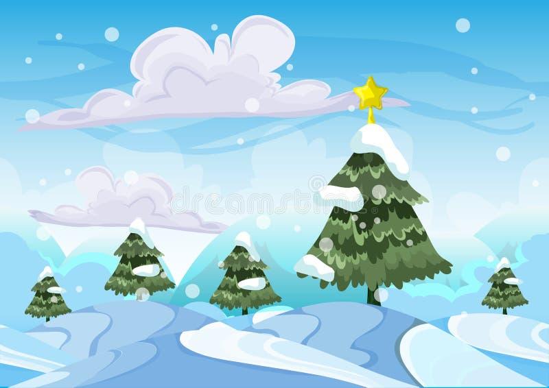 与被分离的层数的无缝的动画片传染媒介雪风景 皇族释放例证