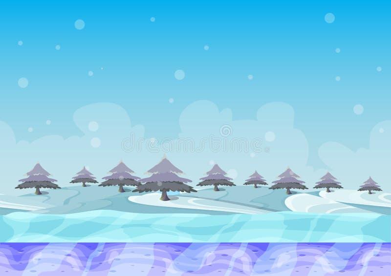与被分离的层数的无缝的动画片传染媒介雪风景 库存例证