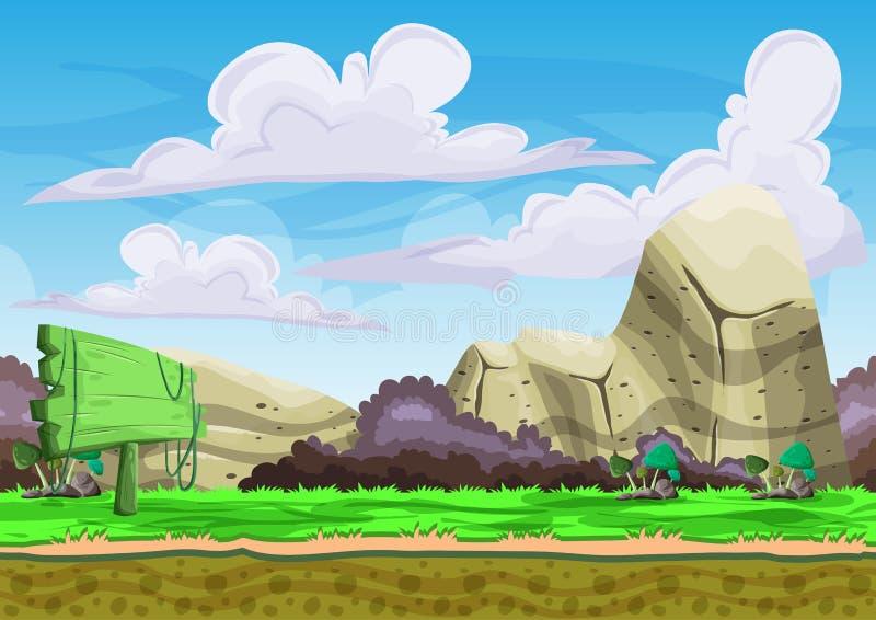 与被分离的层数的无缝的动画片传染媒介风景比赛和动画的 向量例证
