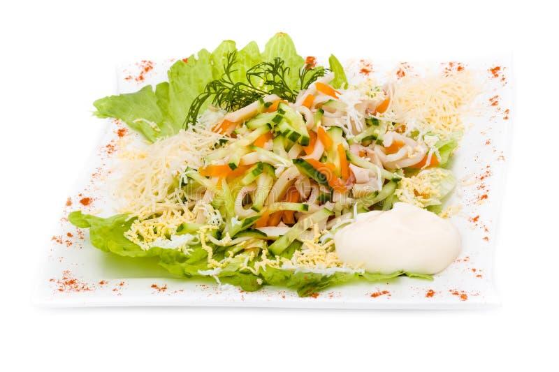 与被分类的绿色的沙拉,油煎的猪肉,红萝卜 库存照片