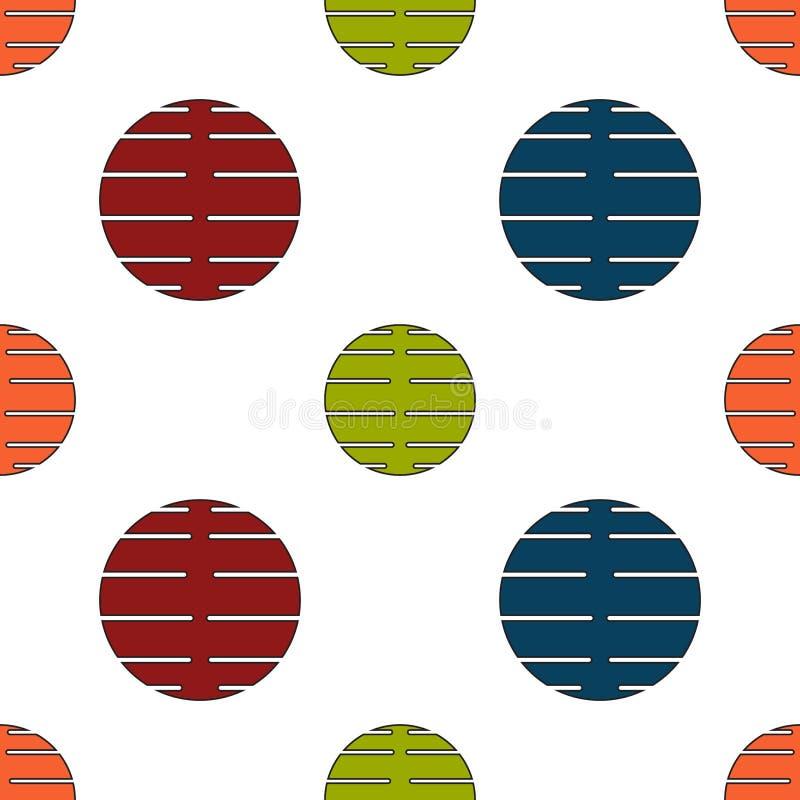 与被切开的圈子五颜六色的设计摘要葡萄酒减速火箭的艺术蓝绿色橙红whi的无缝的几何样式传染媒介背景 向量例证