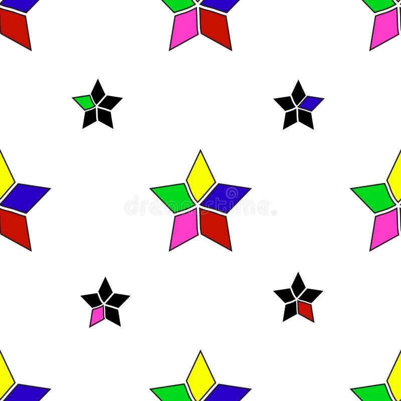 与被切开的星五颜六色的设计摘要葡萄酒减速火箭的艺术黄色蓝色桃红色紫色bla的无缝的几何样式传染媒介背景 向量例证