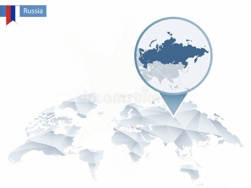 与被别住的详细的俄罗斯地图的抽象被环绕的世界地图 向量例证