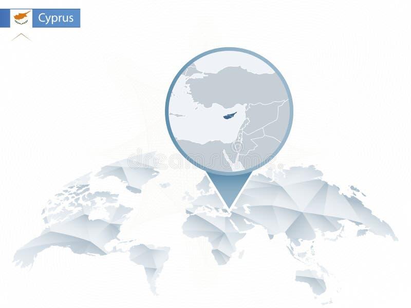与被别住的详细的塞浦路斯地图的抽象被环绕的世界地图 皇族释放例证