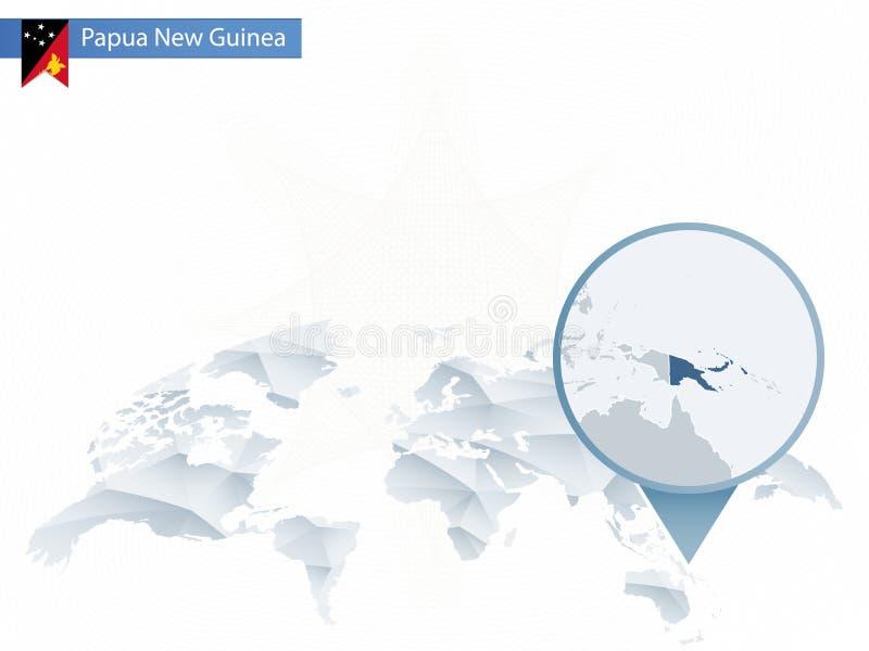 与被别住的详细的巴布亚新几内亚的抽象被环绕的世界地图 向量例证