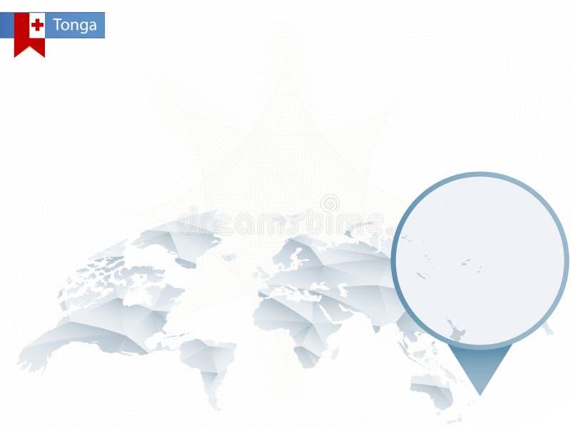 与被别住的详细的汤加地图的抽象被环绕的世界地图 皇族释放例证