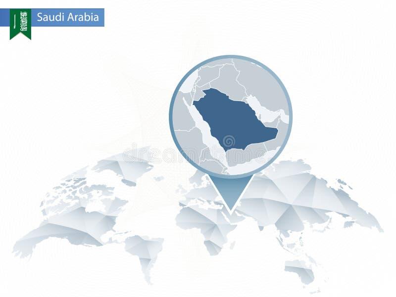 与被别住的详细的沙特阿拉伯地图的抽象被环绕的世界地图 皇族释放例证