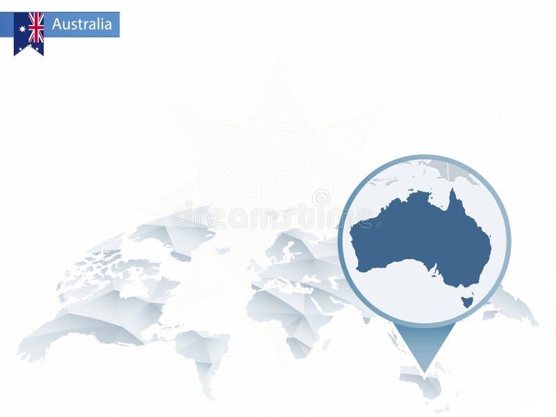 与被别住的详细的澳大利亚地图的抽象被环绕的世界地图 向量例证