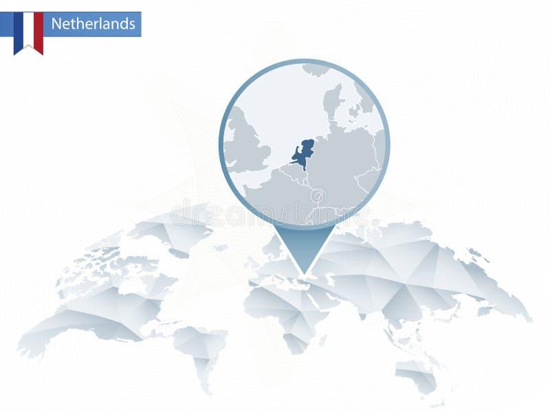 与被别住的详细的荷兰地图的抽象被环绕的世界地图 向量例证
