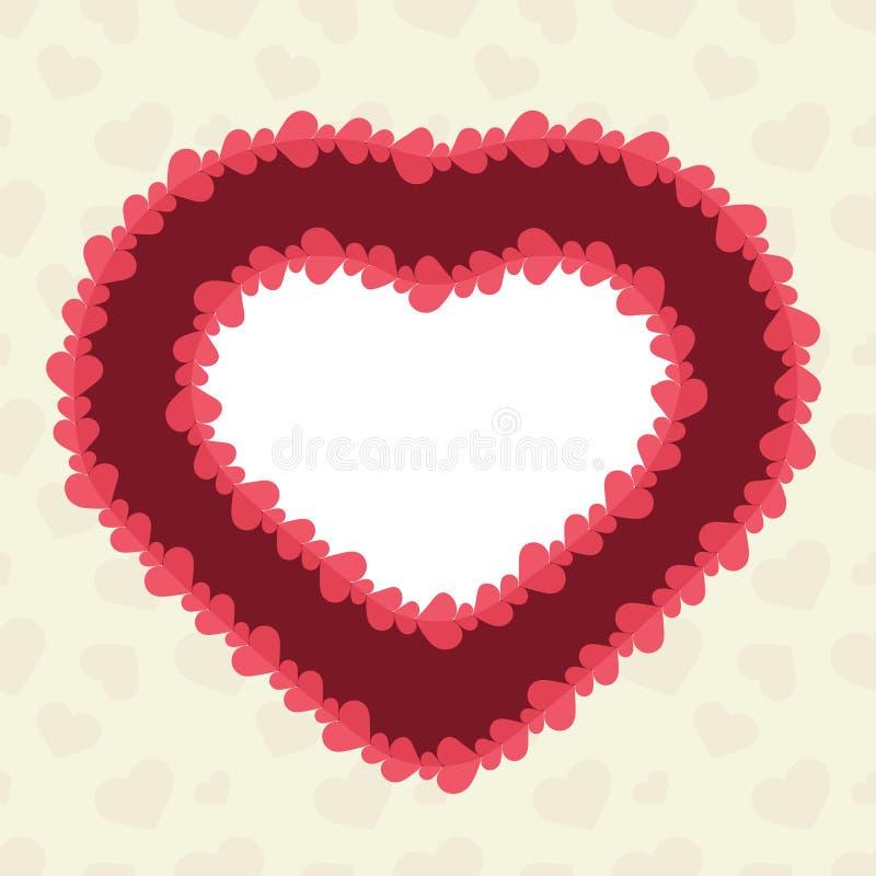 与被削减的纸心脏的抽象背景 库存例证