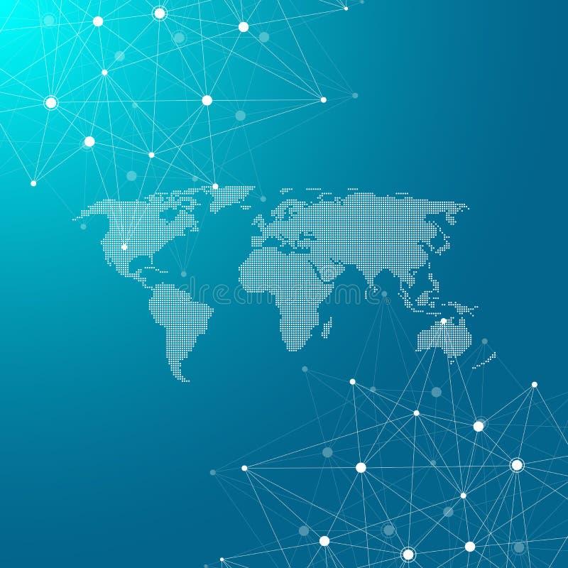 与被加点的世界地图的全球网络连接 互联网连接背景 抽象连接结构 皇族释放例证