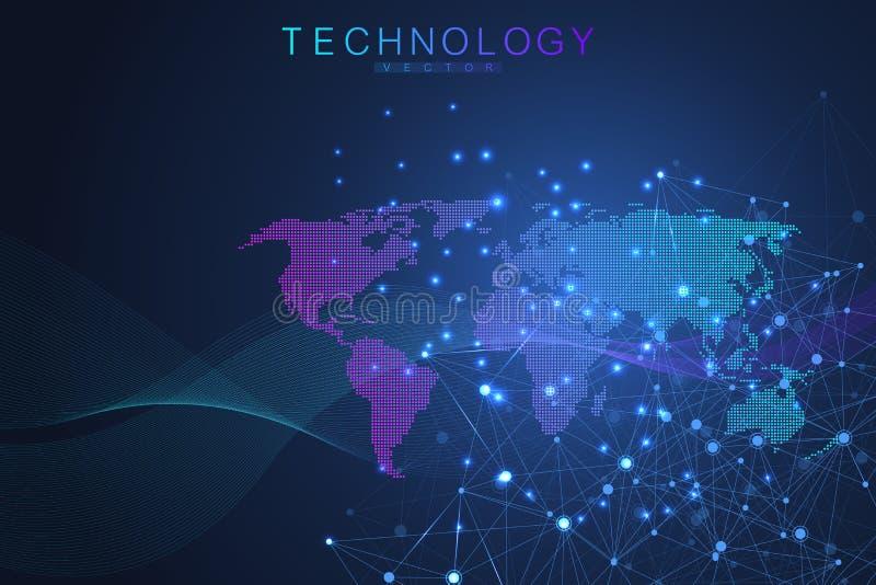 与被加点的世界地图的全球网络连接 互联网连接背景 抽象连接结构 库存例证