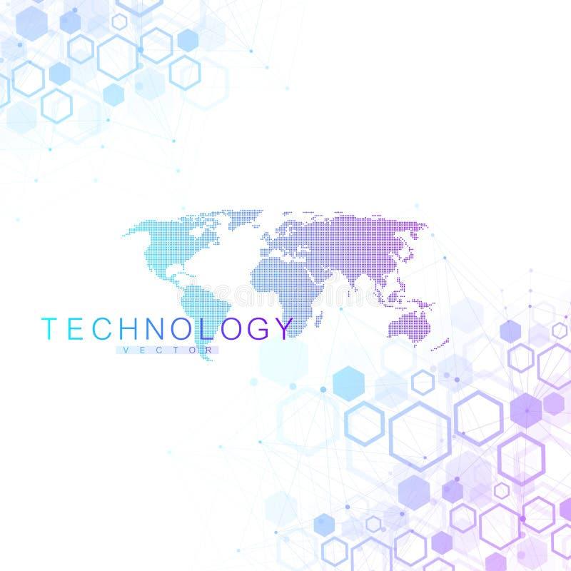 与被加点的世界地图的全球网络连接 互联网连接背景 抽象连接结构 向量例证