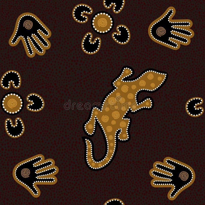 与被加点的圈子、蜥蜴、棕榈、飞旋镖和螺旋的澳大利亚原史无缝的传染媒介样式 向量例证