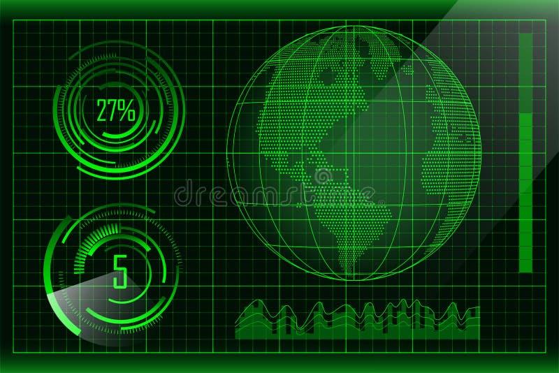 与被加点的地球、酒吧和圆形图的绿色未来派hud设计 传染媒介未来派用户界面元素 皇族释放例证