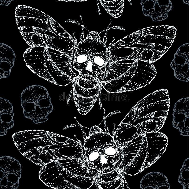 与被加点的骷髅天蛾的无缝的样式或在白色和头骨的Acherontia atropos 库存例证