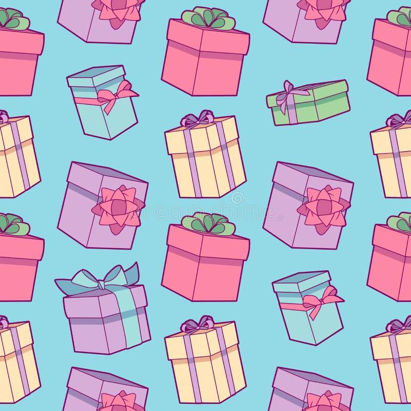 与被包裹的礼物盒的无缝的五颜六色的动画片生日宴会样式有在浅兰的背景的丝带的 向量例证