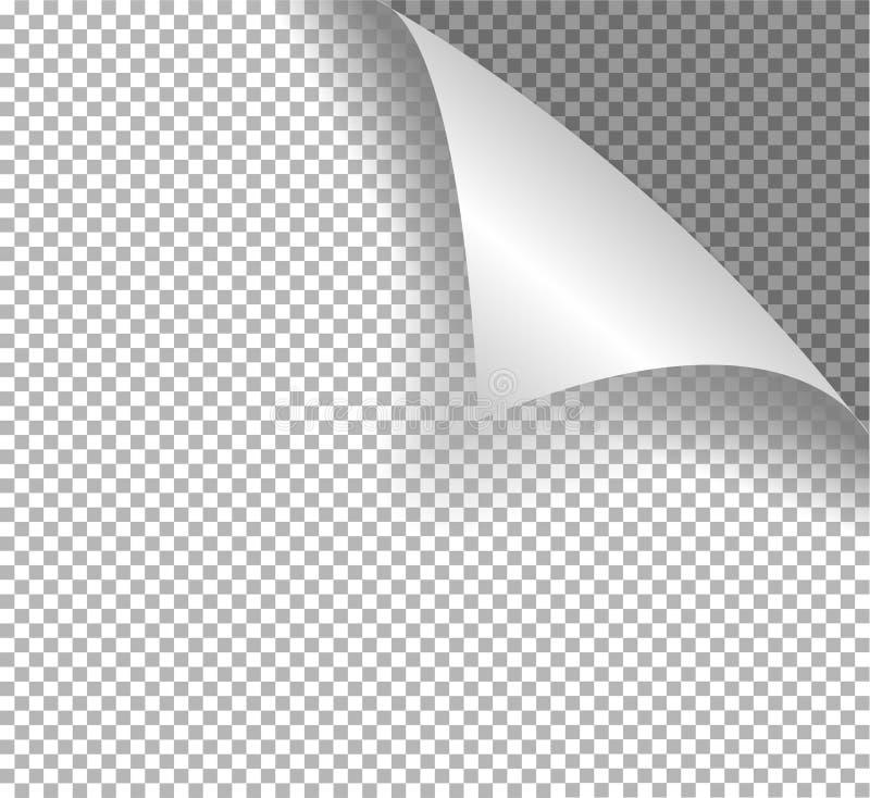 与被包裹的角落的页 与透明阴影的现实例证 向量例证