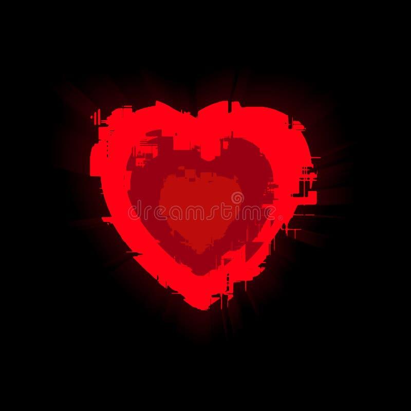 与被变形的数字式技工小故障作用的红色心脏与glo 库存例证