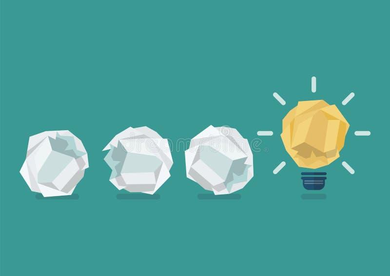 与被弄皱的纸球的被弄皱的纸电灯泡 库存例证