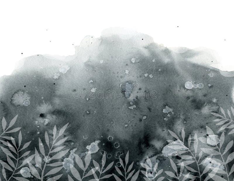 与被弄脏的污点和白色植物的黑灰色背景 皇族释放例证
