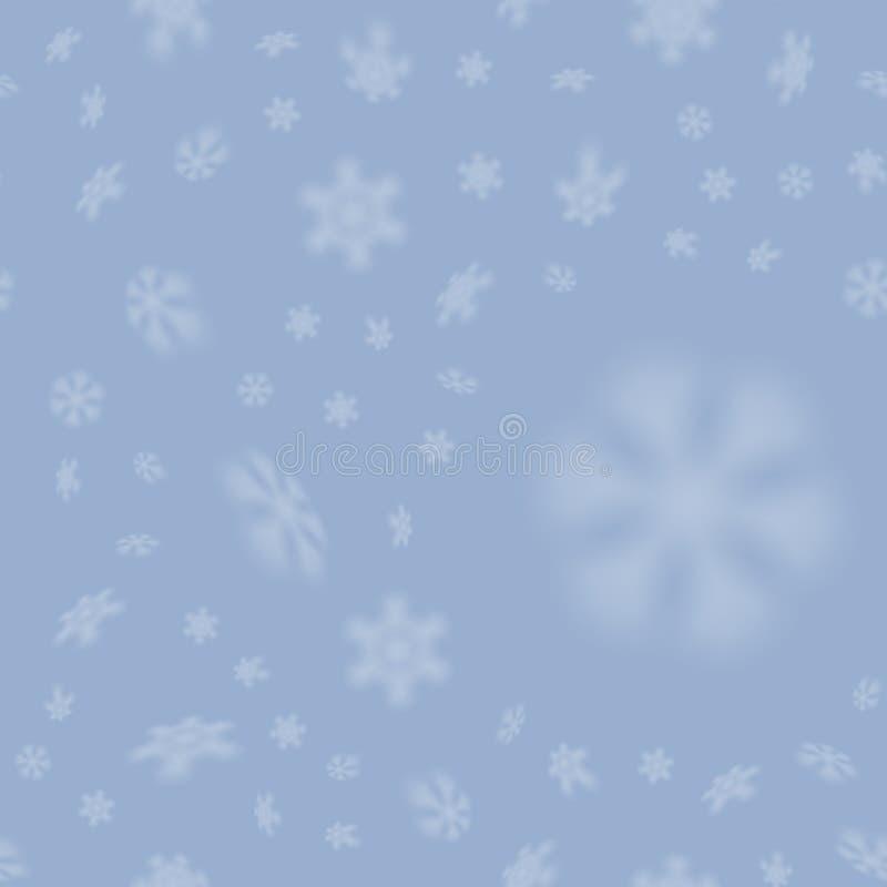 与被弄脏的落的雪的圣诞节无缝的雪花样式担任主角 库存例证