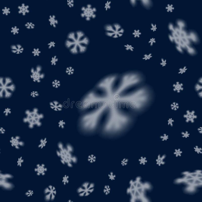 与被弄脏的远的落的雪星的圣诞节无缝的雪花样式圣诞卡片的,盖子,墙纸 向量例证