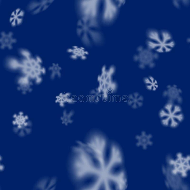 与被弄脏的远的落的雪星的圣诞节无缝的雪花样式圣诞卡片的,盖子 库存例证