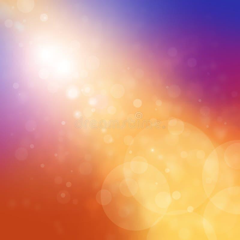 与被弄脏的bokeh光和金条纹的明亮的五颜六色的背景 皇族释放例证