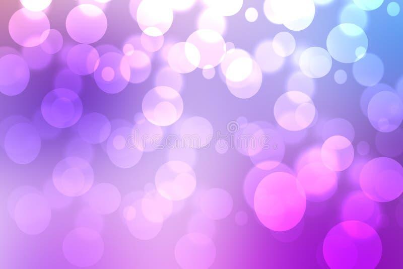 与被弄脏的bokeh圈子和光的摘要梯度紫色桃红色背景纹理 E r 库存例证