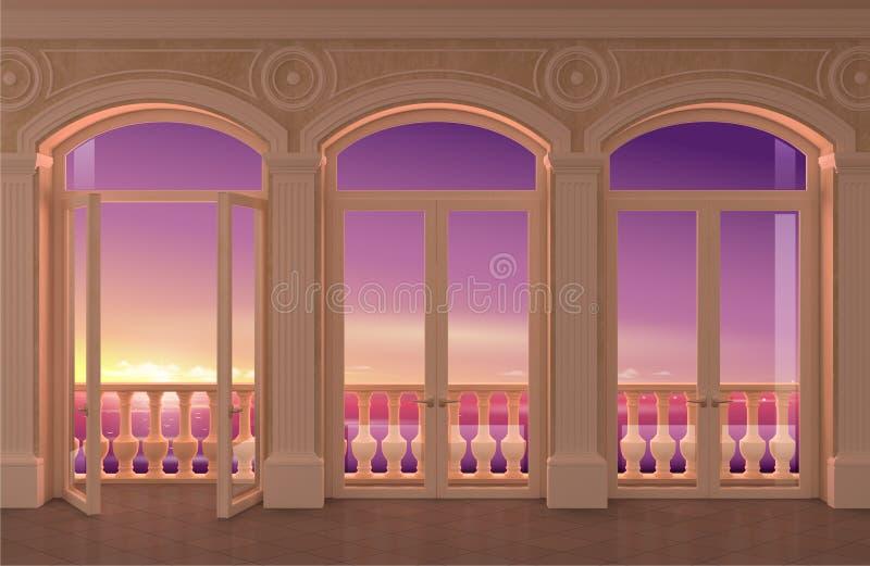 与被成拱形的窗口和海视图的内部 向量例证
