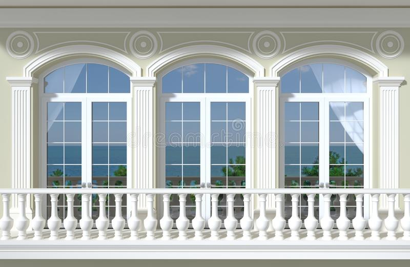 与被成拱形的窗口和海视图的门面 库存例证