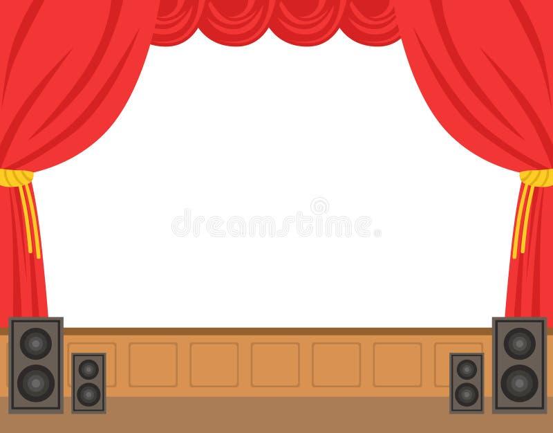与被打开的红色帷幕的剧院阶段 五颜六色的漫画人物传染媒介例证 皇族释放例证
