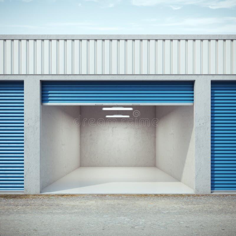 与被打开的门的空的存储单元 向量例证