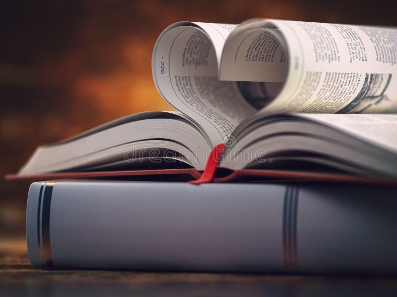 与被打开的页的书以心脏的形式与空间的文本的 读书、宗教和爱概念 向量例证