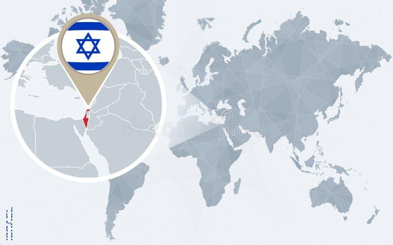 与被扩大化的以色列的抽象蓝色世界地图 向量例证