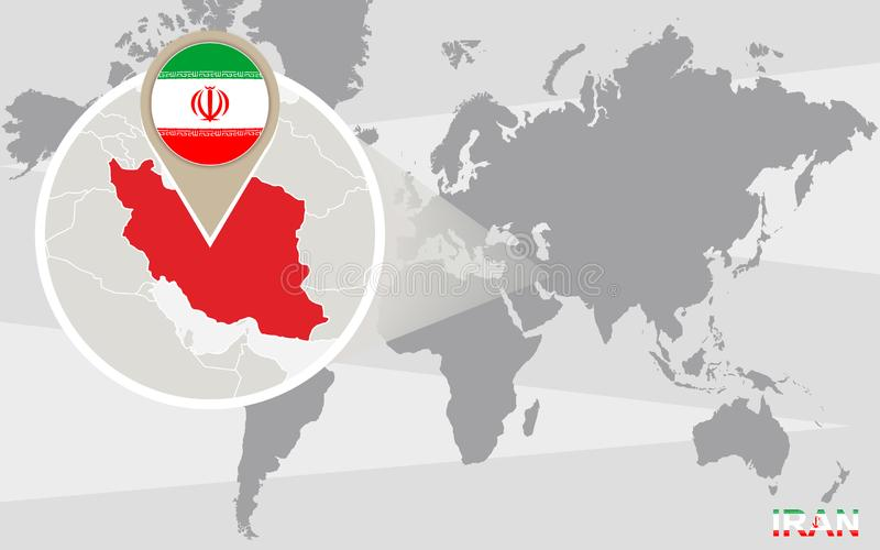 与被扩大化的伊朗的世界地图 向量例证
