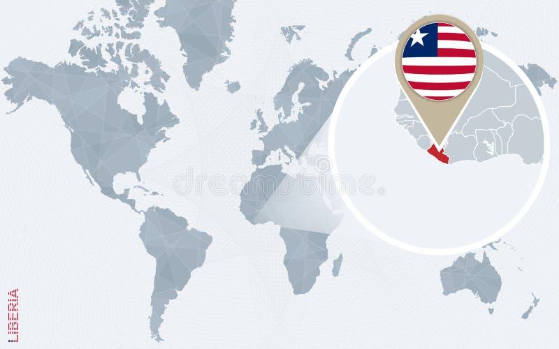 与被扩大化的利比里亚的抽象蓝色世界地图 库存例证