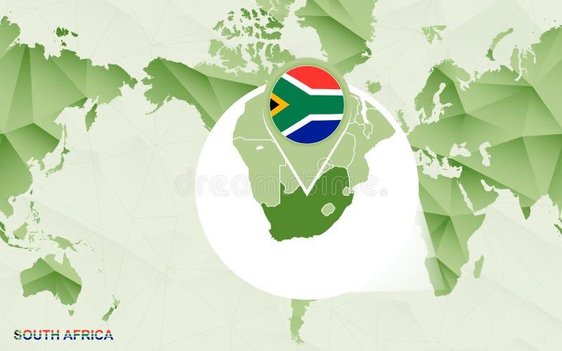 与被扩大化的南非地图的美国中心世界地图 向量例证