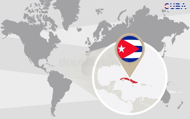 与被扩大化的古巴的世界地图 向量例证