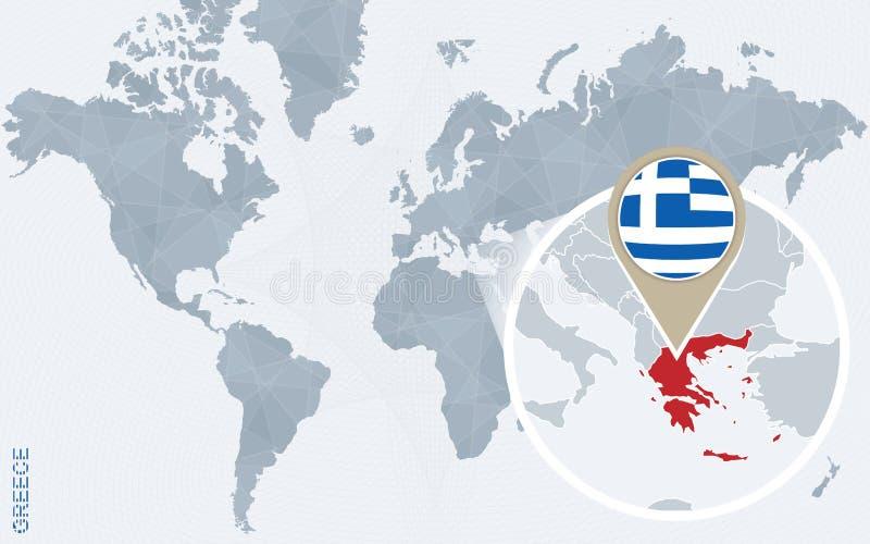 与被扩大化的希腊的抽象蓝色世界地图 向量例证