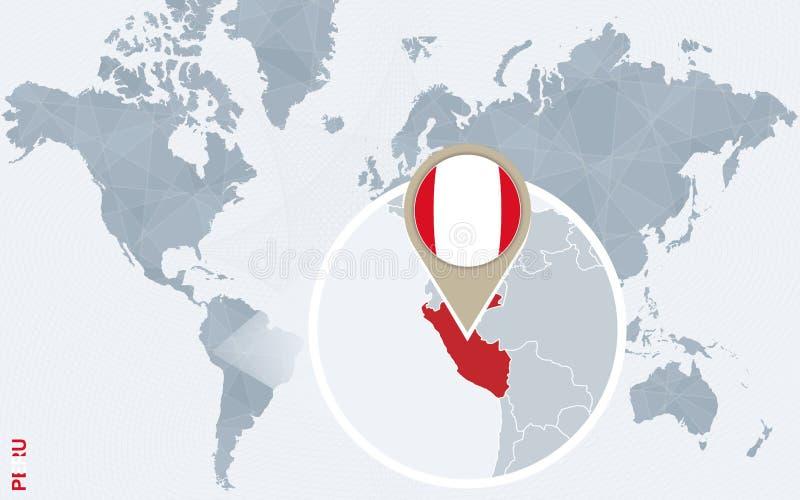 与被扩大化的秘鲁的抽象蓝色世界地图 库存例证