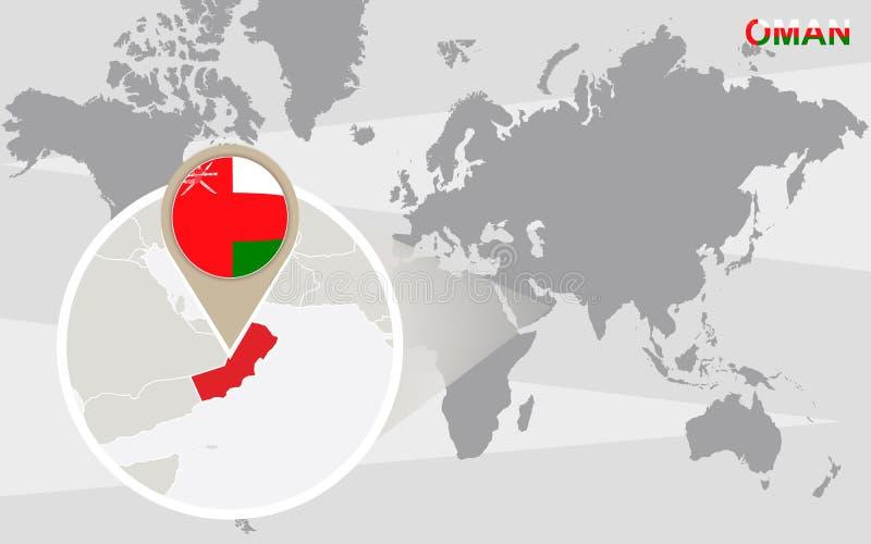 与被扩大化的阿曼的世界地图 库存例证