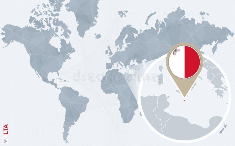 与被扩大化的马耳他的抽象蓝色世界地图 皇族释放例证